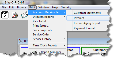 SWORD Service Management Software Invoice Printing - Invoice printing software
